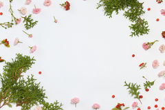 Floral nature pattern on white background. Flat lay, top view Stock Photo