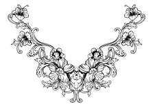 Floral neck embroidery design in Baroque Style. Independent composition with flowers and leaves. Vector Royalty Free Stock Image