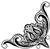 Floral noir et blanc sous la forme d'angle de frontière Image stock