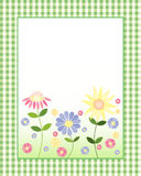 Floral note card. An illustration of a decorative floral note card with colorful flowers and blank white space for messages with a green gingham border Stock Photo