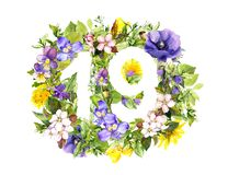 Free Floral Number 19 Nineteen From Summer Flowers. Watercolor Stock Image - 144395011