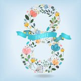 Floral Number Eight with Blue Ribbon Stock Image