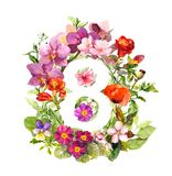 Floral number - 8 eight from flowers. Watercolor greeting royalty free illustration