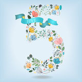 Floral Number Five with Blue Ribbon stock images
