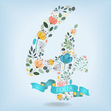 Floral Number Four with Blue Ribbon stock photo