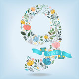 Floral Number Nine with Blue Ribbon stock images