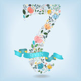Floral Number Seven with Blue Ribbon royalty free stock photography
