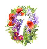 Floral number 7 - seven from wild flowers and grass. Watercolor stock illustration