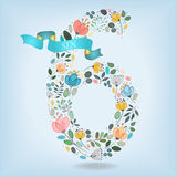 Floral Number Six with Blue Ribbon royalty free stock photography