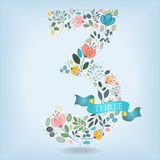 Floral Number Three with Blue Ribbon royalty free stock photos