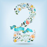 Floral Number Two with Blue Ribbon Stock Photo