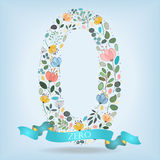 Floral Number Zero with Blue Ribbon stock photography