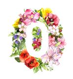Floral number - 0 zero from meadow flowers, grass. Watercolor royalty free illustration