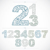 Floral numbers drawn using abstract vintage pattern, spring leav Royalty Free Stock Photography