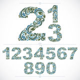 Floral numbers drawn using abstract vintage pattern, spring leav Royalty Free Stock Images