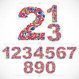 Floral numbers drawn using abstract vintage pattern, spring leav Stock Photos
