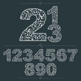 Floral numbers drawn using abstract vintage pattern, spring leav Royalty Free Stock Photo