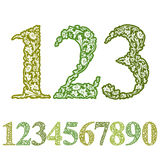 Floral numbers set. Royalty Free Stock Images