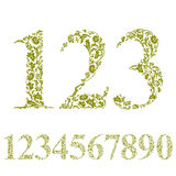 Floral numbers set, vintage style numerals, vector set. Royalty Free Stock Photography