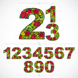 Floral numerals, hand-drawn  numbers decorated with botani Stock Photos