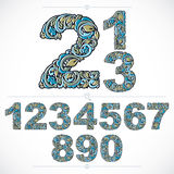 Floral numerals, hand-drawn vector numbers decorated with botani Royalty Free Stock Photography