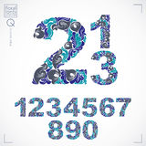 Floral numerals, hand-drawn vector numbers decorated with botani Stock Image