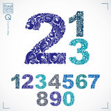 Floral numerals, hand-drawn vector numbers decorated with botani Stock Photography