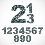 Floral numerals, hand-drawn vector numbers decorated with botani Royalty Free Stock Photo