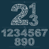 Floral numerals, hand-drawn vector numbers decorated with botani Stock Photos