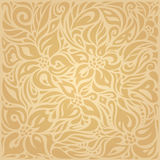 Floral Ocher ecru vector pattern wallpaper design. Floral Ocher ecru brown vector pattern wallpaper design Stock Photos