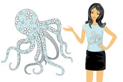 Floral octopus and girl Stock Photos