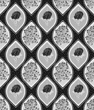 Floral ogee seamless pattern tile in silver grayscale colors vector illustration