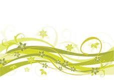 Floral, olive design. Olive floral design with flowing stripes Stock Image