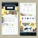 Floral one page website template design Royalty Free Stock Image