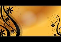 Floral orange business card Stock Images