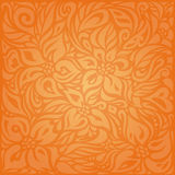 Floral Orange Retro style colorful wallpaper background. Design Royalty Free Stock Images