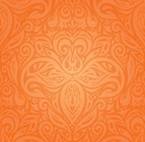 Floral Orange Retro style colorful wallpaper background  in trendy fashion vintage style. Floral Orange Retro style colorful wallpaper background design  in Stock Photo