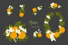 Floral orange retro vintage background Stock Image