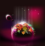 Floral orb fantasy graphic. Flowers floating in an orb like container surrounded by small planets, moons or spheres Stock Photo