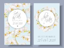 Floral orchid banners. Vector wedding invitation cards with white orchid flowers on blue background. Can be used as floral design for cosmetics, perfume, beauty royalty free illustration