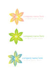 Floral organic or spa logo in multiple colors Royalty Free Stock Photography