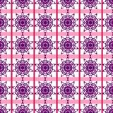 Oriental, Arabic, Islamic, Ornament, Floral, Geometric, Pink Purple Violet Seamless Vector Pattern Tile Texture Background stock illustration