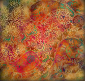 Floral oriental design on spotted background Royalty Free Stock Photography