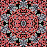 Floral oriental pattern. Mandala red color endless Royalty Free Stock Photo