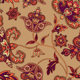 Floral oriental seamless pattern. Flower background. Floral tile orn. Floral pattern Flourish tiled oriental ethnic background. Arabic ornament with fantastic Royalty Free Stock Photography