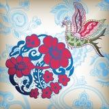 Floral oriental y pájaro Fotos de archivo