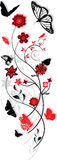 Floral ornament. With butterflies, red and black Stock Images