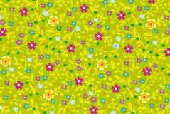 Floral ornament. Vector drawing of floral fabric ornament on green background stock illustration