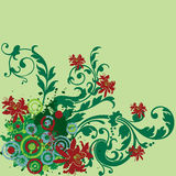 Floral ornament. Grunge floral ornaments in green culors Stock Images