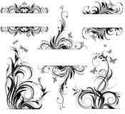 Floral ornament. Set of banners with the black and white floral ornaments Royalty Free Stock Images